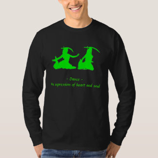 Green and Black Long Sleeve Bellydance T-Shirt