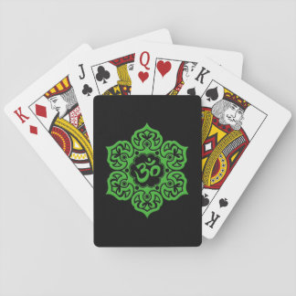 Green and Black Lotus Flower Om Deck Of Cards