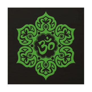 Green and Black Lotus Flower Om Wood Prints