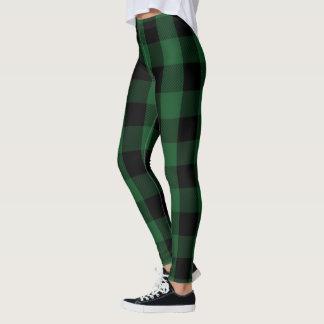 Green and Black Lumberjack Flannel Plaid Pattern Leggings