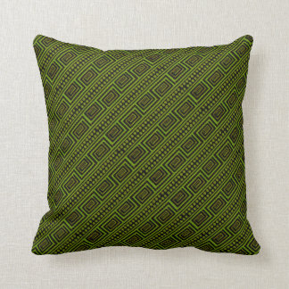 Green and Black Meander Throw Pillow