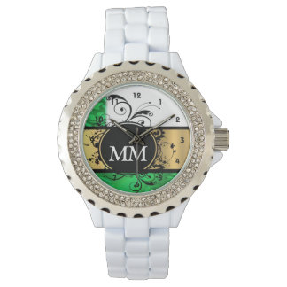 Green and black monogram on white watch