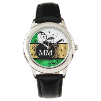 Green and black monogram on white wristwatches