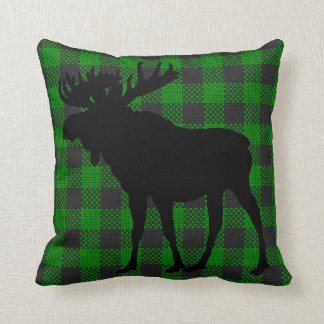 Green and Black Moose Pillow