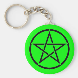 Green and Black Pentacle Pentagram Wiccan Keychain