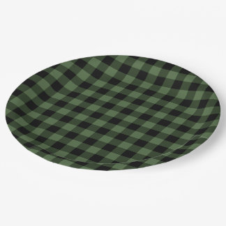 Green and Black Plaid Paper Plate