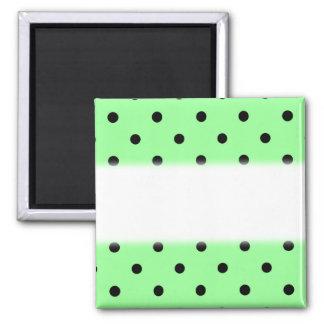 Green and Black Polka Dot Pattern. Magnet