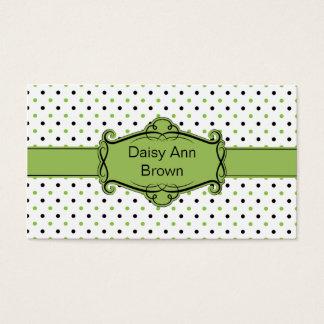 Green and Black Polka Dots Business Card