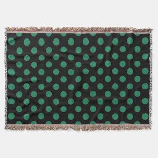 Green and black polka dots throw
