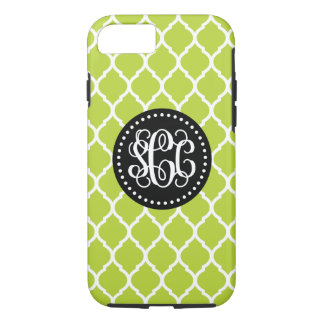 Green and Black Quatrefoil Script Monogram iPhone 7 Case