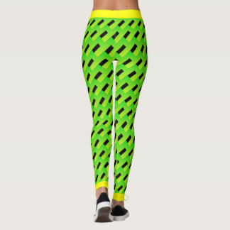 Green and Black Random Pattern Yellow Edges Leggings