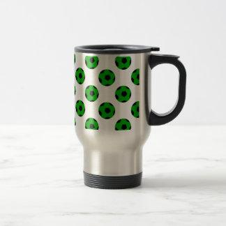 Green and Black Soccer Ball Pattern Travel Mug