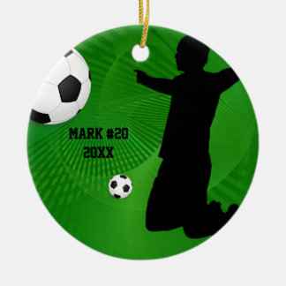 Green and Black Soccer Christmas Ornament