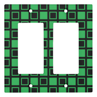 Green and Black Squares Light Switch Cover