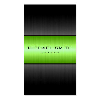 Green and Black Stainless Steel Metal Business Card Templates