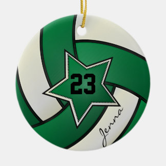 Green and Black Star Volleyball Ceramic Ornament