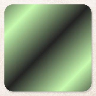Green and Black Stripe Square Paper Coaster