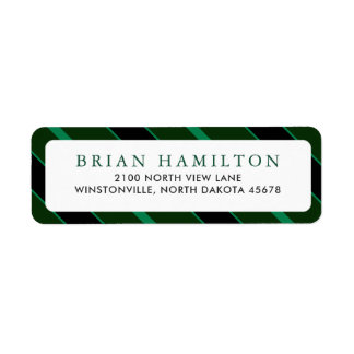 Green and Black Stripes | Return Address Return Address Label