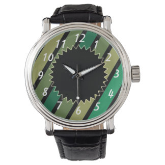 Green and Black Stripes Watch