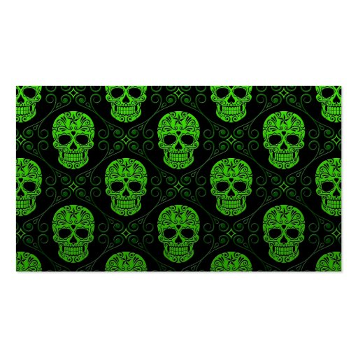 Green and Black Sugar Skull Pattern Business Card Template