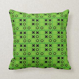 Green and black Tic Tac Toe Throw Pillow