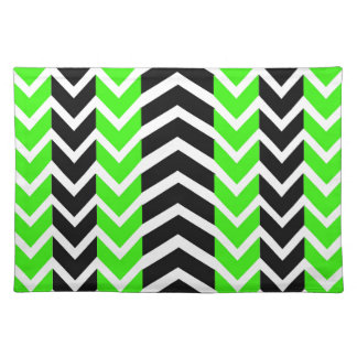 Green and Black Whale Chevron Placemat