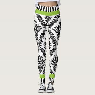 Green and black white damask pattern & stripes leggings
