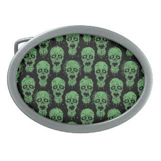 Green and Black Zombie Apocalypse Pattern Oval Belt Buckles