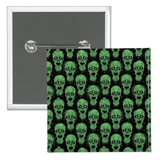 Green and Black Zombie Apocalypse Pattern Pinback Button