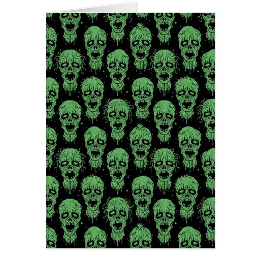 Green and Black Zombie Apocalypse Pattern Card