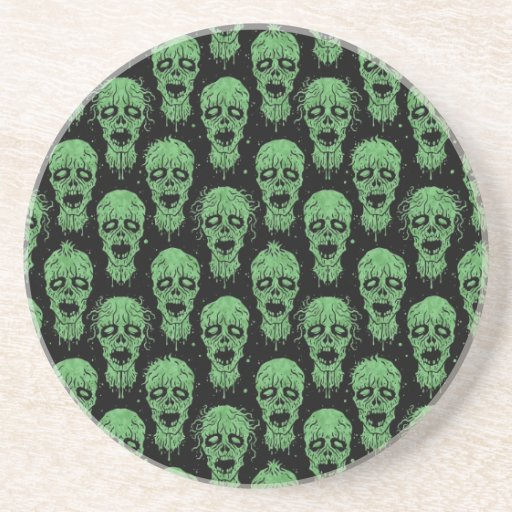 Green and Black Zombie Apocalypse Pattern Coasters
