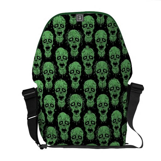 Green and Black Zombie Apocalypse Pattern Courier Bags