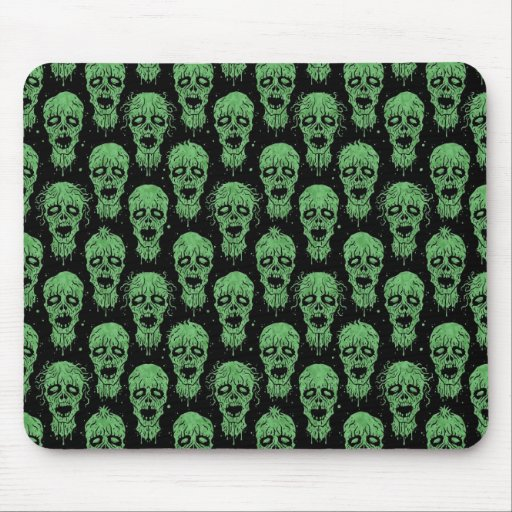 Green and Black Zombie Apocalypse Pattern Mousepad