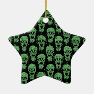 Green and Black Zombie Apocalypse Pattern Christmas Ornaments