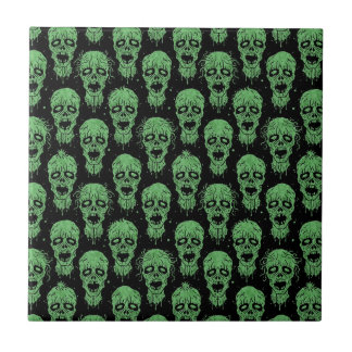 Green and Black Zombie Apocalypse Pattern Tiles