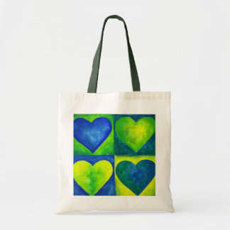 Green and Blue Abstract Hearts Tote Budget Tote Bag