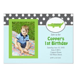 Green and blue Alligator Birthday Invitation
