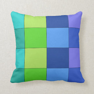 Green and Blue and Purple Checkered Pillow