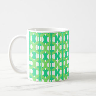 Green and Blue Chain Link Pattern Coffee Mug