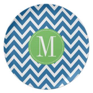 Green and Blue Chevron Custom Monogram Plates
