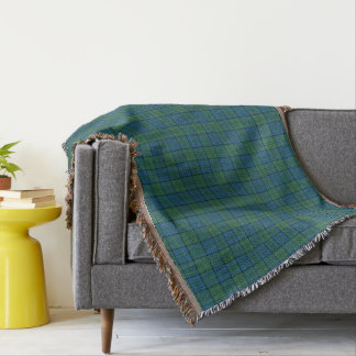 Green and Blue Clan Lockhart Scottish Plaid Throw Blanket
