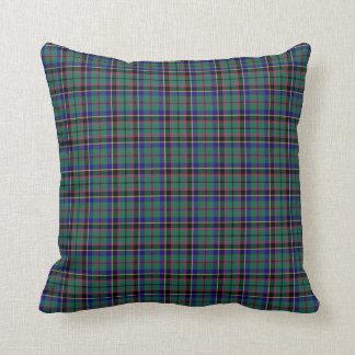 Green and Blue Clan Stevenson Scottish Plaid Throw Pillow