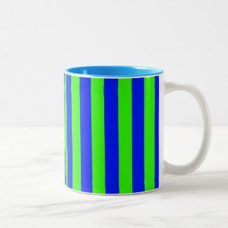 Green and Blue Coloured striped pattern Two-Tone Coffee Mug