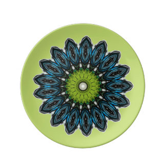 Green and Blue Daisy Porcelain Plate