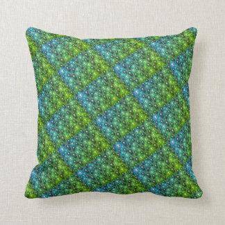 green and blue design pillow