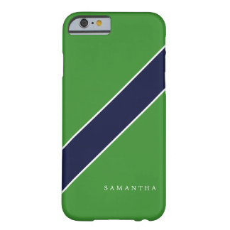 Green and Blue Diagonal Stripe Personalized Barely There iPhone 6 Case