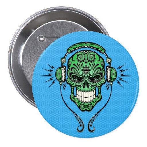 Green and Blue DJ Sugar Skull Pins