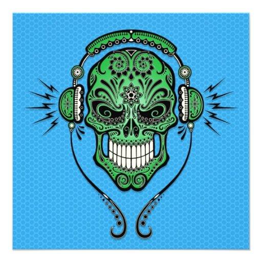 Green and Blue DJ Sugar Skull Personalized Invite