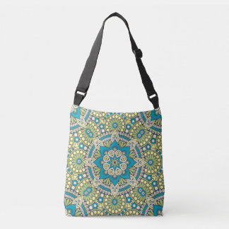 Green and Blue Floral Mandala Crossbody Bag