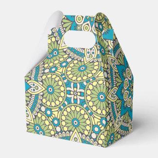 Green and Blue Floral Mandala Favor Box